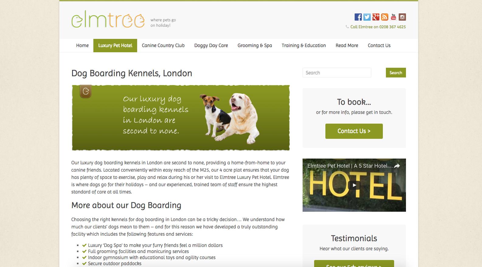The New Elmtree Pet Hotel Website
